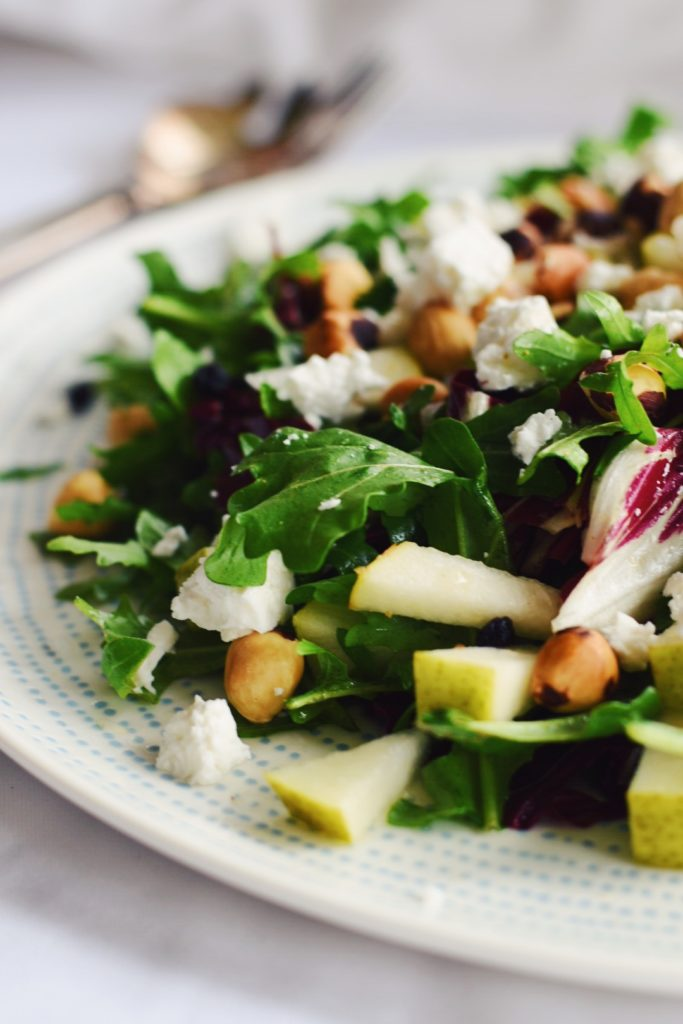 Rocket and Radicchio Salad with Hazelnuts and Pear