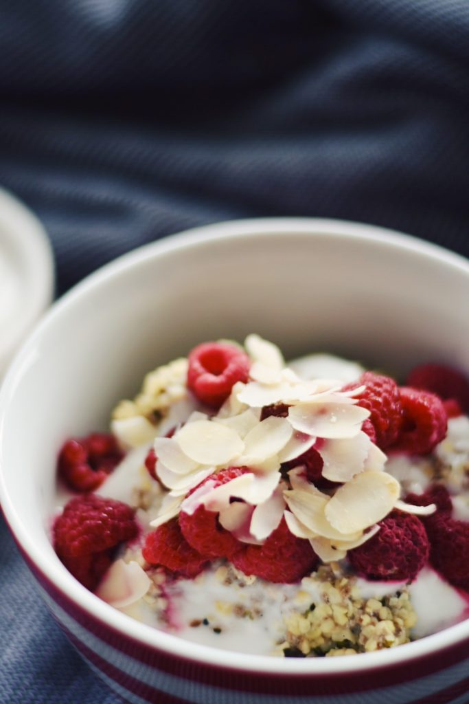Hemp Seed Porridge with Raspberries and Coconut